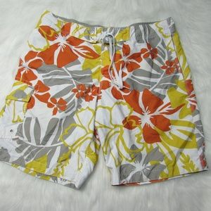Old Navy Mens Large Floral White Board Shorts